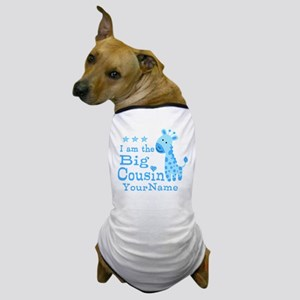 Blue Giraffe Personalized Big Cousin Dog T-Shirt