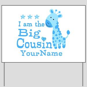 Blue Giraffe Personalized Big Cousin Yard Sign