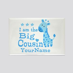 Blue Giraffe Personalized Big Cousin Rectangle Mag