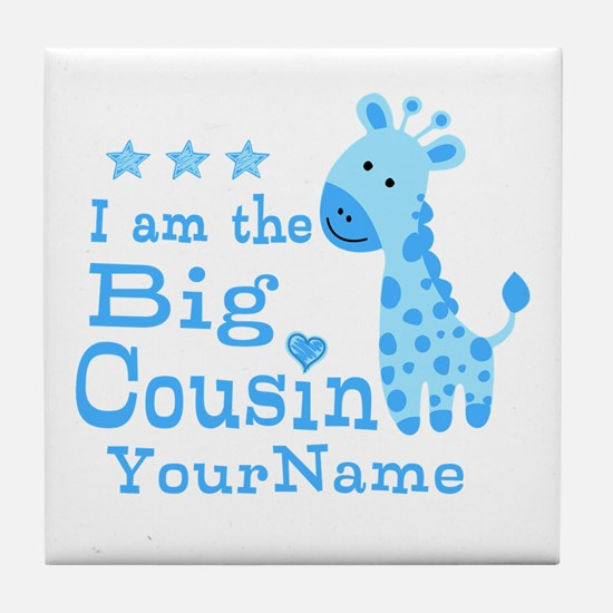 Blue Giraffe Personalized Big Cousin Tile Coaster