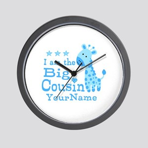 Blue Giraffe Personalized Big Cousin Wall Clock