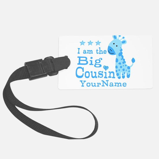 Blue Giraffe Personalized Big Cousin Luggage Tag
