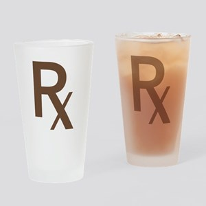 Brown Rx Symbol Drinking Glass