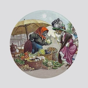 Cats Go to Market by Arthur Thiele Round Ornament