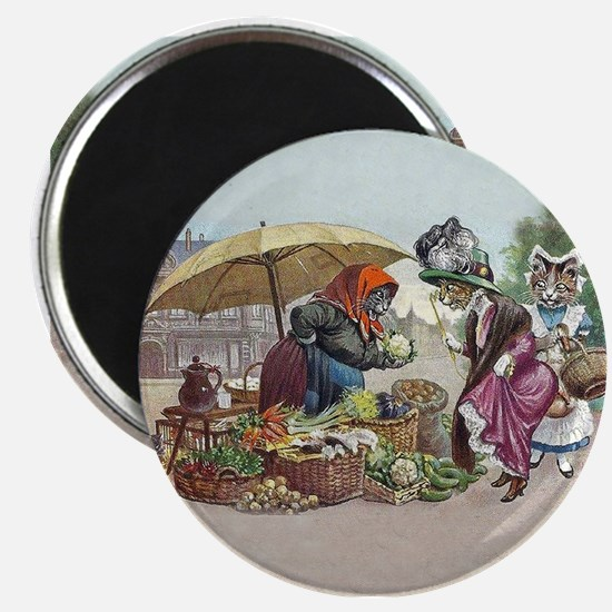 Cats Go to Market by Arthur Thiele Magnets