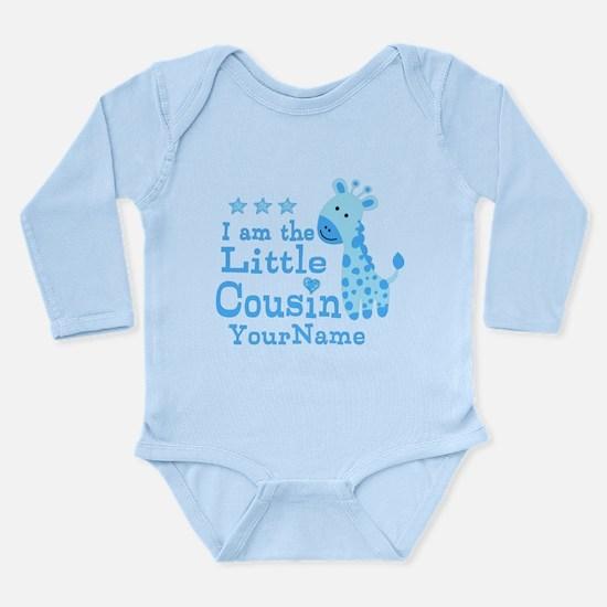 Blue Giraffe Personalized Little Cousin Long Sleev
