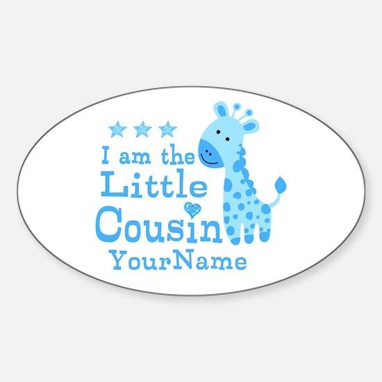 Blue Giraffe Personalized Little Cousin Decal