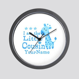Blue Giraffe Personalized Little Cousin Wall Clock