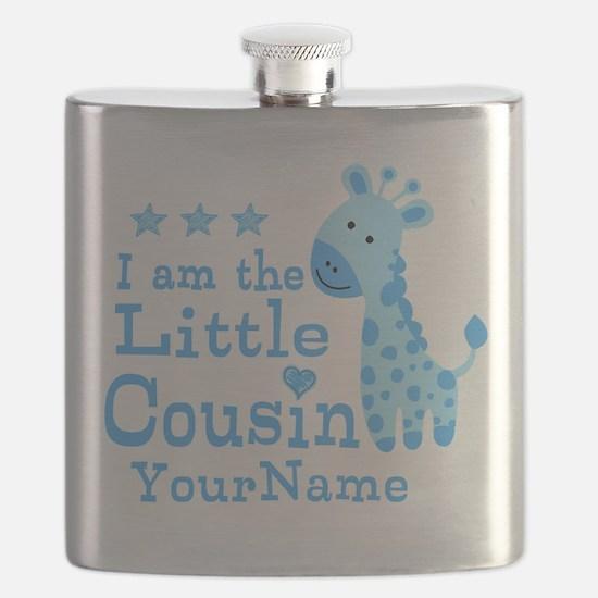 Blue Giraffe Personalized Little Cousin Flask