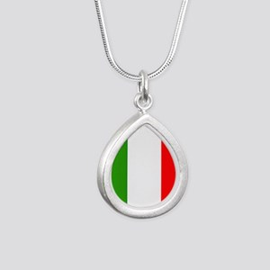 Flag of Italy Silver Teardrop Necklace