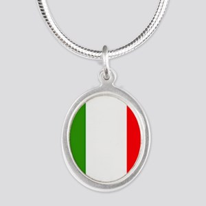 Flag of Italy Silver Oval Necklace