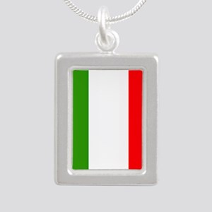 Flag of Italy Silver Portrait Necklace