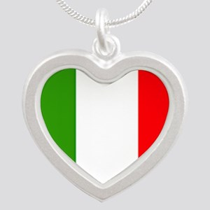 Flag of Italy Silver Heart Necklace