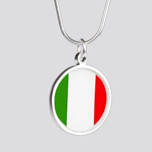 Flag of Italy Silver Round Necklace