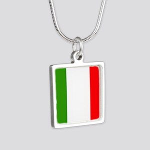 Flag of Italy Silver Square Necklace