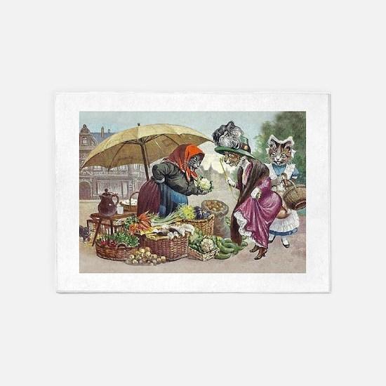 Cats Go to Market by Arthur Thiele 5'x7'Area Rug