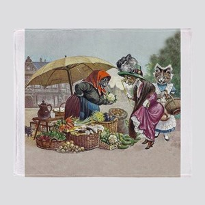 Cats Go to Market by Arthur Thiele Throw Blanket