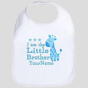 Little Brother Blue Giraffe Personalized Bib