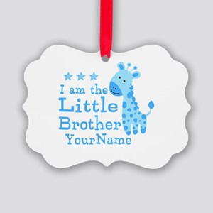 Little Brother Blue Giraffe Personalized Picture O