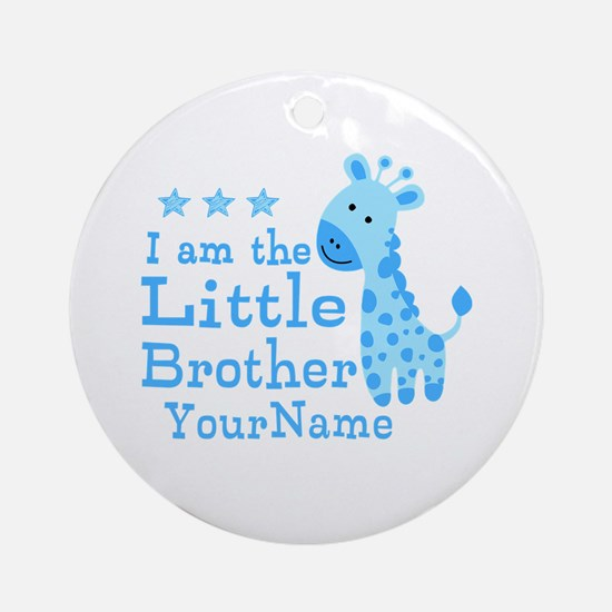 Little Brother Blue Giraffe Personalized Ornament