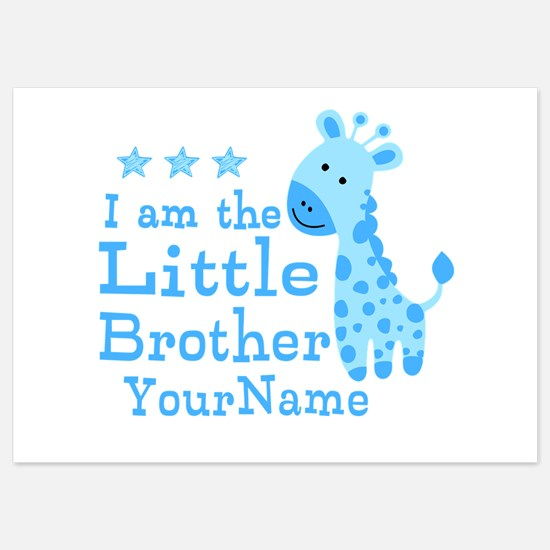 Little Brother Blue Giraffe Personalized 5x7 Flat