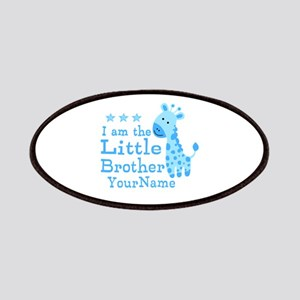 Little Brother Blue Giraffe Personalized Patches