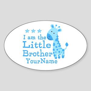 Little Brother Blue Giraffe Personalized Sticker (