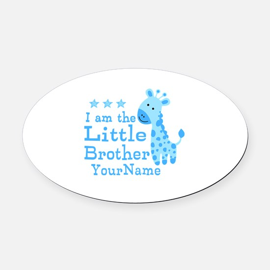 Little Brother Blue Giraffe Personalized Oval Car