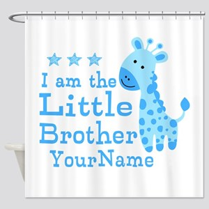 Little Brother Blue Giraffe Personalized Shower Cu