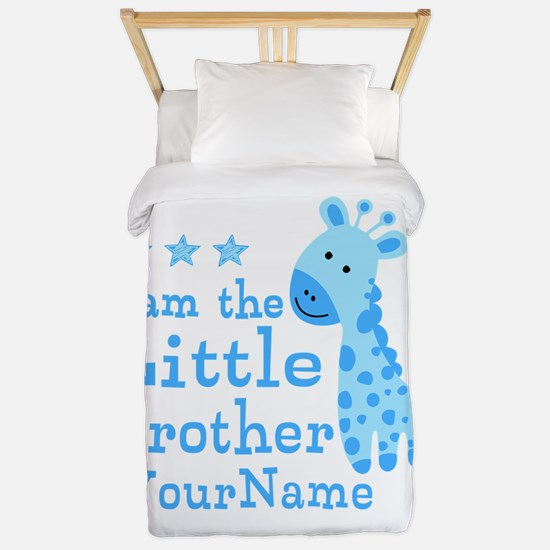 Little Brother Blue Giraffe Personalized Twin Duve