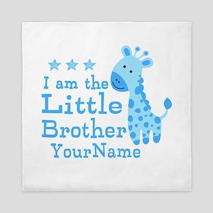 Little Brother Blue Giraffe Personalized Queen Duv