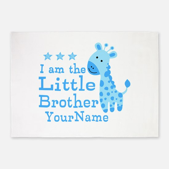 Little Brother Blue Giraffe Personalized 5'x7'Area