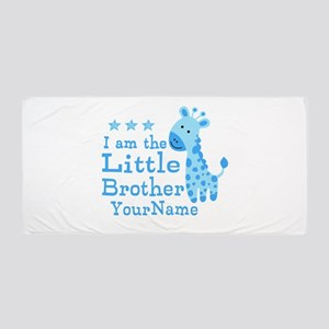 Little Brother Blue Giraffe Personalized Beach Tow