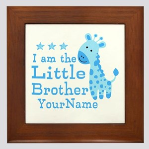Little Brother Blue Giraffe Personalized Framed Ti