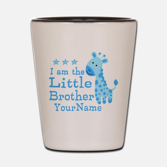 Little Brother Blue Giraffe Personalized Shot Glas