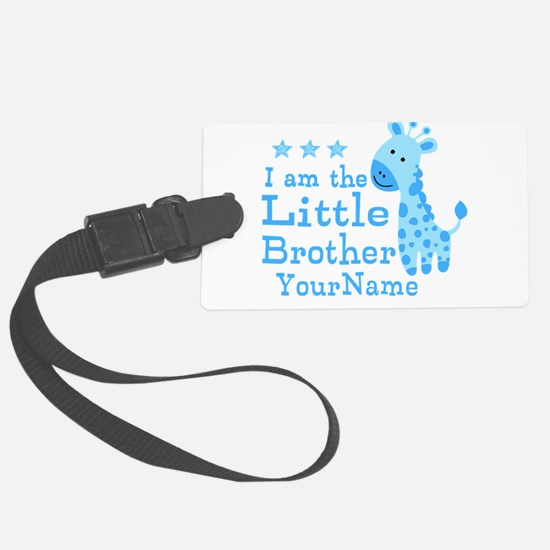Little Brother Blue Giraffe Personalized Luggage Tag