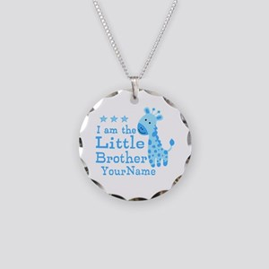 Little Brother Blue Giraffe Personalized Necklace