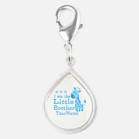 Little Brother Blue Giraffe Personalized Silver Te