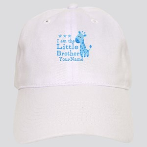 Little Brother Blue Giraffe Personalized Cap