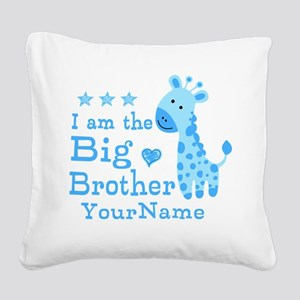 Giraffe Big Brother Personalized Square Canvas Pil