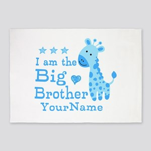 Giraffe Big Brother Personalized 5'x7'Area Rug