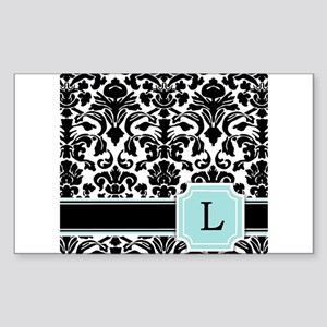 letter l black damask personal monogram sticker