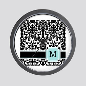 Letter M Black Damask Personal Monogram Wall Clock