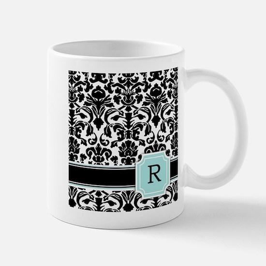 Letter R Black Damask Personal Monogram Mugs