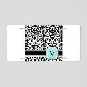 Letter V Black Damask Personal Monogram Aluminum L