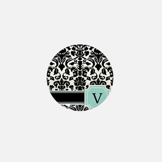 Letter V Black Damask Personal Monogram Mini Butto