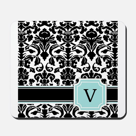 Letter V Black Damask Personal Monogram Mousepad