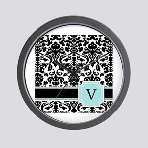 Letter V Black Damask Personal Monogram Wall Clock