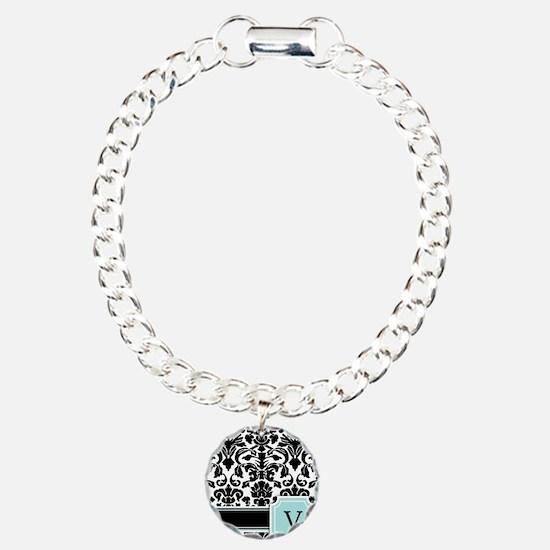 Letter V Black Damask Personal Monogram Bracelet