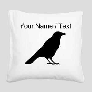 Custom Crow Silhouette Square Canvas Pillow